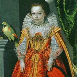 Пазл онлайн: Неизвестная принцесса с попугаем