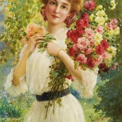 Пазл онлайн: Девушка с букетом цветов
