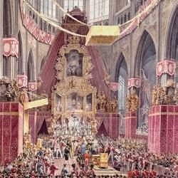 Пазл онлайн: Коронация императора Фердинанда I как короля Богемии в Пражском соборе в 1836 году