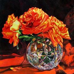 Пазл онлайн: Розы в хрустальной вазе