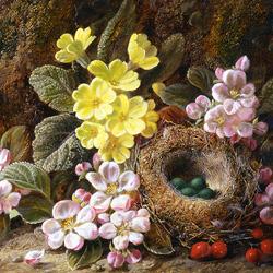 Пазл онлайн: Яблоневый цвет, первоцветы и гнездо птиц