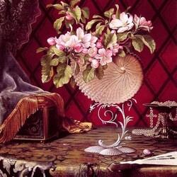 Пазл онлайн: Натюрморт с яблоневыми цветами