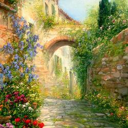 Пазл онлайн: Цветущая Тосканская улочка