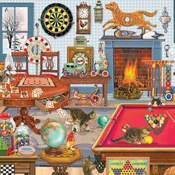 Пазл онлайн: Котята в игровой комнате