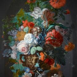 Пазл онлайн: Натюрморт  с маками и тюльпаном