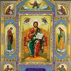 Пазл онлайн: Икона Господь Вседержитель на престоле