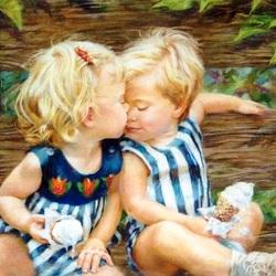 Пазл онлайн: Первый поцелуй