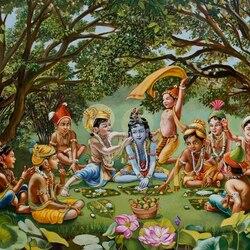 Пазл онлайн: Кришна, Баларама и мальчики-пастушки