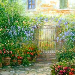 Пазл онлайн: Калитка в цветах