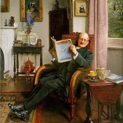 Пазл онлайн: Старик с журналом