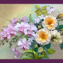 Пазл онлайн: Розы и Орхидеи