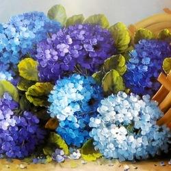 Пазл онлайн: Синие гортензии