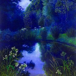 Пазл онлайн: Голубая ночь