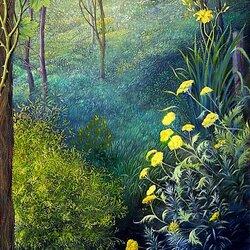 Пазл онлайн: Цветы у лесного озера