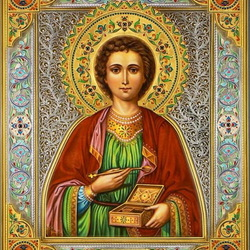 Пазл онлайн: Икона Пантелеймона целителя