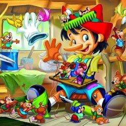 Пазл онлайн: Пиноккио с друзьями