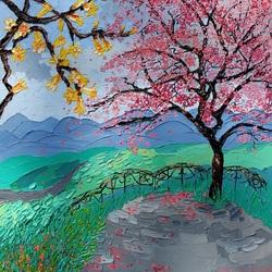 Пазл онлайн: Цветущие деревья