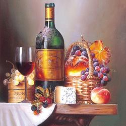 Пазл онлайн: Натюрморт с вином и сыром