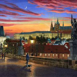 Пазл онлайн: Прага в сумерки