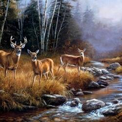 Пазл онлайн: Три оленя у ручья