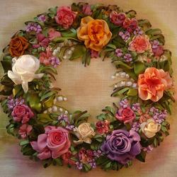 Пазл онлайн: Розы. Вышивка лентами