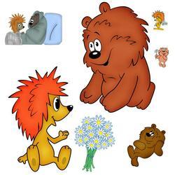 Пазл онлайн: Ёжик и медвеженок