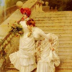 Пазл онлайн: Дамы на лестнице