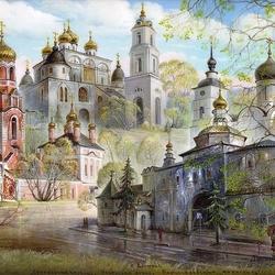 Пазл онлайн: Сретенская церковь. Успенский собор. Борисоглебский монастырь г. Дмитров