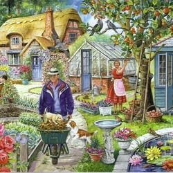 Пазл онлайн: Работы в саду