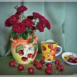 Пазл онлайн: Розы и черешня