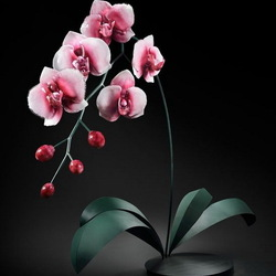 Пазл онлайн: Гигантская розовая орхидея из стекла