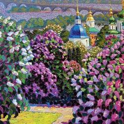 Пазл онлайн: Сирень, Выдубицкий монастырь
