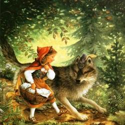 Пазл онлайн: Волк и Красная шапочка