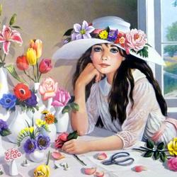 Пазл онлайн: Девочка в шляпе с цветами