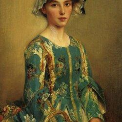 Пазл онлайн: Портрет девушки с цветами