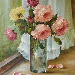 Пазл онлайн: Букет роз в вазе