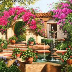 Пазл онлайн: Уютные дворики. Фонтан