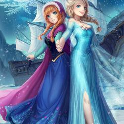 Пазл онлайн: Анна и Эльза