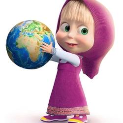 Пазл онлайн: Маша и земной шар