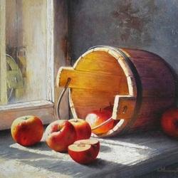 Пазл онлайн: Ведро с яблоками