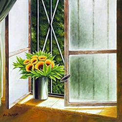 Пазл онлайн: Подсолнухи на окне