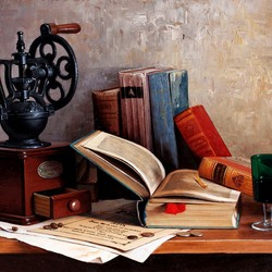 Пазл онлайн: Натюрморт с книгами