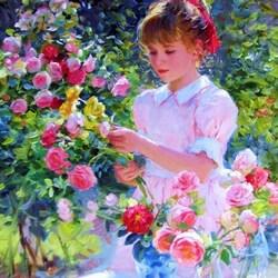 Пазл онлайн: Девочка и розы