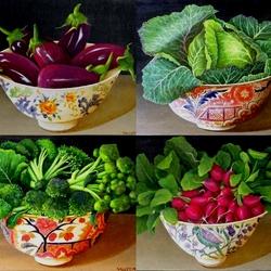 Пазл онлайн: Овощные натюрморты