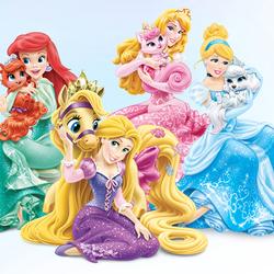 Пазл онлайн: Принцессы с питомцами