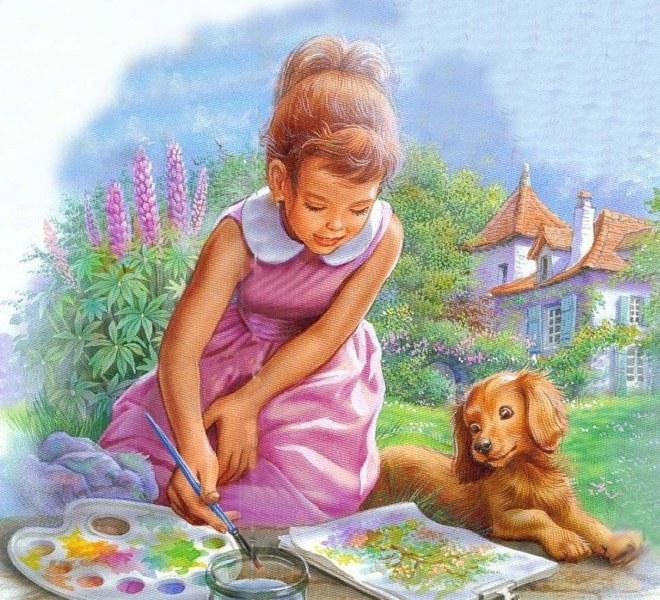 Юный художник открытка