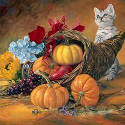 Пазл онлайн: Котенок и тыквы