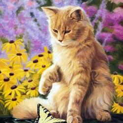 Пазл онлайн: Котик и бабочка