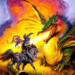 Пазл онлайн: Сражение с драконом