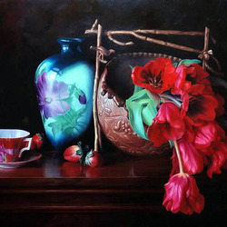 Пазл онлайн: Натюрморт с голубой вазой и тюльпанами